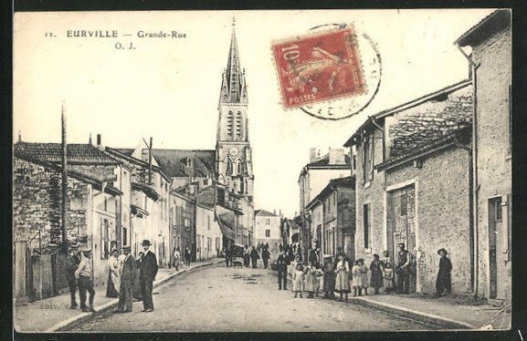 AK Eurville, Grande-Rue, Kirche, Anwohner in Strasse 0