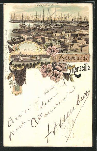 Lithographie Marseille, Bassin de la Joliette, Fort St. Jean 0