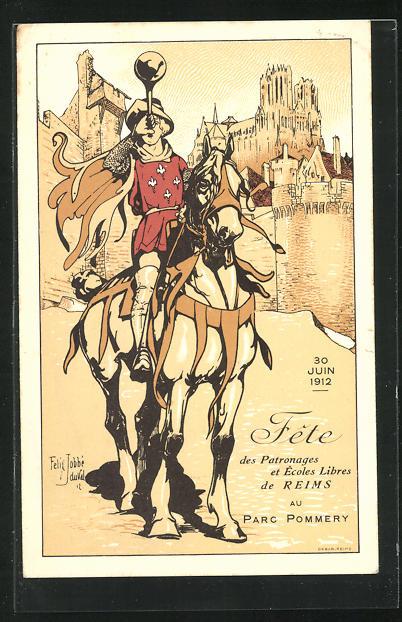 AK Reims, Fete des Patronages et Ecoles Libres au Parc Pommery, Reiter auf Pferd trompetet, 30 Juin 1912 0