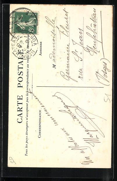 AK Reims, Fete des Patronages et Ecoles Libres au Parc Pommery, Reiter auf Pferd trompetet, 30 Juin 1912 1