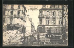 AK Bourges, La rue Coursarion, L`Incendie, 14 Septembre 1928