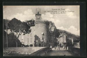AK Meyrueis, Tour de l`Horloge et rue de la Mairie