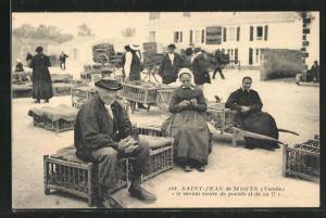 AK Saint-Jean-de-Monts, Verkäufer auf dem Markt