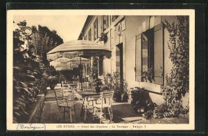 AK Les Eyzies, Hotel des Glycines, La Terrasse