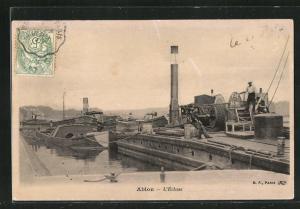AK Ablon, L`Ecluse, Dampfschiffe und Lastenkahn