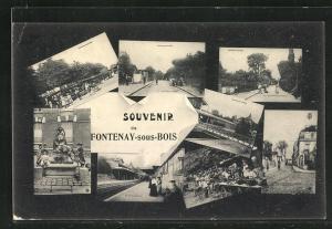 AK Fontenay-sous-Bois, Le Marche, La Gare, Rue des Moulins, Brunnen