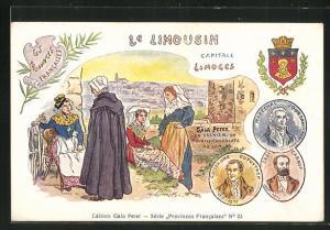AK Limoges, Gala Peter Chocolats au Lait, Frauen in Trachten, Wappen Marechal Jourdan, Sadi Carnot