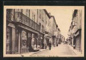 AK Bellac, Rue du Coq, Geschäftsfassaden