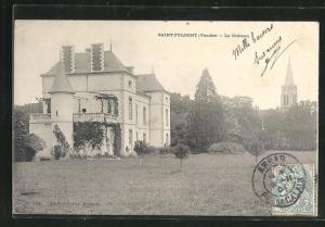 AK Saint-Fulgent, Le Chateau, Park und Kirchturmspitze