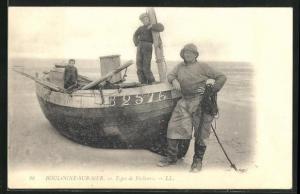 AK Boulogne-sur-Mer, Types de Pecheurs, Fischer mit Jungs im Boot