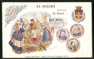 AK Le Mans, Gala Peter, Chocolats au Lait, Frauen holen das Getreide ein, Wappen, Ambroise Pare, Leo Delibes