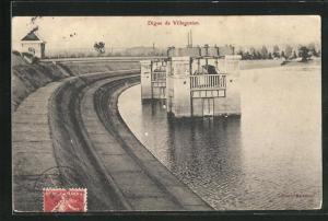 AK Villegusien, Digue, Blick zum Damm