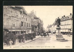 AK Langres, Rue et Place Diderot, Diderot square and street