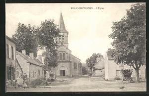 AK Billy-Chevannes, L`Eglise, Blick zur Kirche