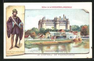 Lithographie Pierrefonds, Le Chateau, Reklame Chocolaterie d` Aiguebelle