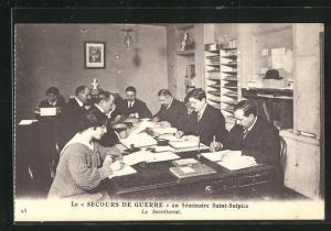 AK Issy-les-Moulineaux, Le Secours de Guerre au Seminaire Saint-Sulpice, Le Secretariat