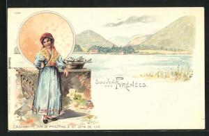 Lithographie St. Jean de Luz, Cascarotte, Mde de Poissons, Pyrenees