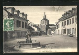 AK Saint-Savin, Ortspartie mit Brunnen