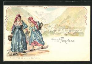 Lithographie Cauterets, Marchande de Lait et Panorama