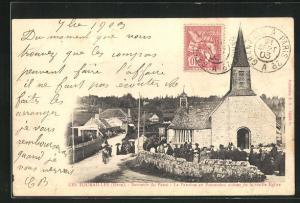 AK Les Tourailles, Souvenir du Passe, la Paroisse en Procession autour de la vieille Eglise