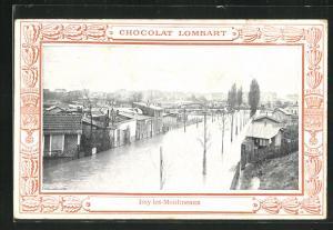 AK Issy-les-Moulineaux, Strassenpartie bei Hochwasser