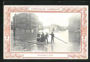 AK Ivry sur Seine, Sauvetage, Strassenpartie bei Hochwasser