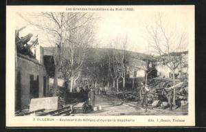 AK Villemur, Boulevard de Bifranc et rue de la Boucherie, Les Grandes Inondations du Midi, 1930