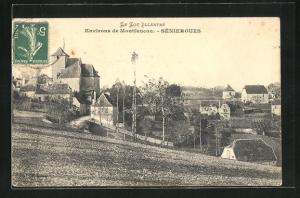 AK Seniergues, Blick von Feld auf Kirche, Häuser und Felder