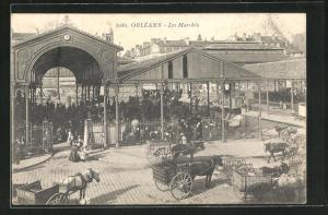 AK Orleans, Les Marches, Pferdekutschen vor Markthalle