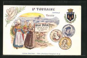 AK Tours, Gala Peter, Chocolats au Lait, Frauen in Trachten, Wappen, Honore de Balzac, Car. de Richelieu