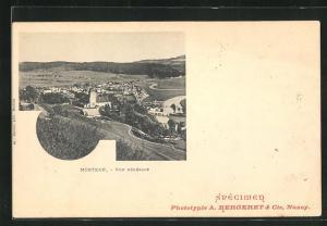 AK Morteau, Vue Generale, Blick von Anhöhe auf Kirche, Häuser und Flusslandschaft