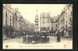 AK Tours, Place du Grand Marche et Fontaine de Beaune
