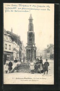AK Crècy-en-Ponthieu, La Croix du Bourg