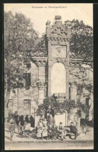 AK Besancon, Le Square Saint Jean-Vestiges romains