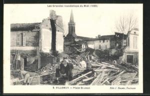 AK Villemur, Place St-Jean, Les Grandes Inondations du Midi 1930