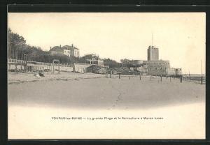 AK Fouras-les-Bains, La grande Plage et le Sèmaphore à Marèe basse
