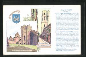 Künstler-AK Carcassonne, Villebasse Eglise, Wappen