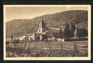 AK Lèoncel, Teilansicht mit Kirche