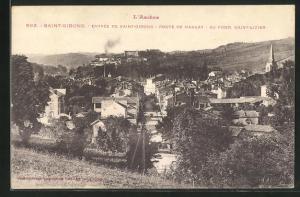 AK Saint-Girons, Ortsansicht aus der Vogelschau