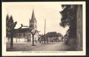 AK Les Eparres, L`eglise, la mairie et le monument aux Morts