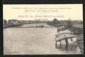 AK Beaumont-sur-Oise, Bateaux-lavoir coules et Pont de Bateaux du Genie