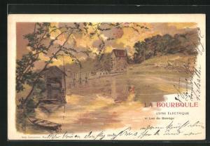 Lithographie La Bourboule, Usine Electrique et Lac du Barrage
