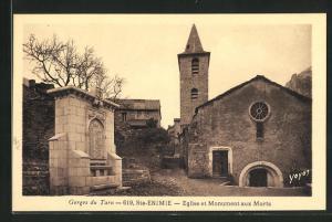AK Ste-Enimie, Eglise et Monument aux Morts