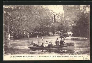 AK Fontaine de Vaucluse, Promenade sur le Lac en Bateau_Automobile La Belle Laure