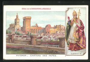 AK Avignon, Chateau des Papes, Portrait Clement VI.