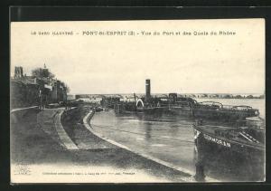 AK Pont-St-Esprit, Vue du Port et des Quais du Rhone