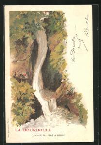 Lithographie La Bourboule, Cascade du Plat a Barbe