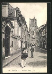 AK Meaux, La Rue Saint-Remy, Strassenpartie