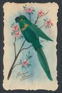 AK Grüner Papagei aus echten Federn auf blühendem Ast