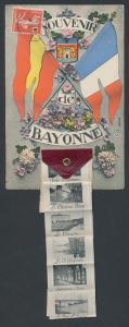 Leporello-AK Bayonne, Spanische und französische Fahne, Le Théatre, Le Pont St. Esprit, Les Quais Maritimes